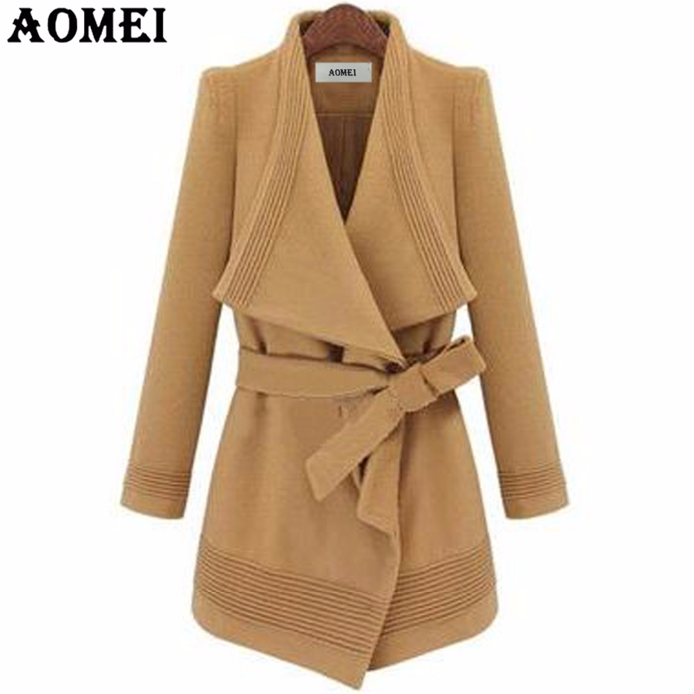 Woman Winter Wool Coats Camel Wear to Work Office Lady Clothing Fall Elegant New with Sashes Spring Winter Irregular Overcoats