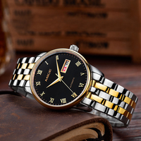 Mige 2018 Top Brand Luxury Hot Sale Automatic Mens Watch Skeleton Steel Gold Case Black While