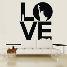 Removable Modern Love The Statue Of Liberty Wall Decal Decoration House  Vinyl Wall Sticker Art Quotes Living Room Vinilos NY 336