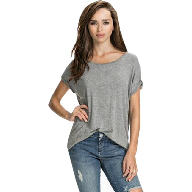 e738e3c33193a US $3.13 21% OFF|Summer T shirt women back angel wings print rolled sleeves  casual tops loose loose T shirt clothing vestidos LBD1615-in T-Shirts from  ...