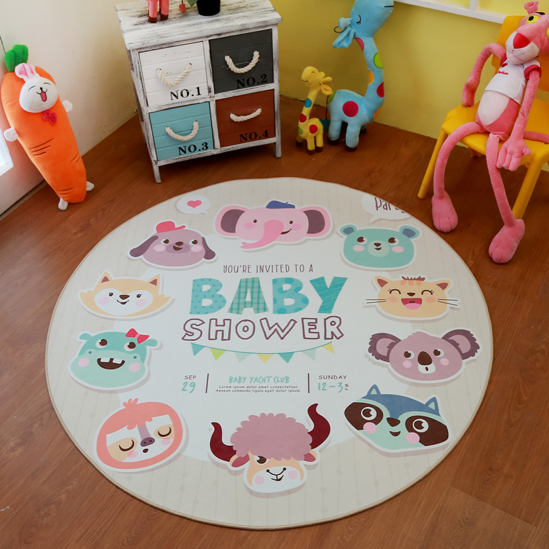 Lovely Cute Cartoon Animal Zoo Baby Shower Party Round Decorative Carpet Floor Door Pad Baby Child Kid 39 s Play Crawl Mat Area Rug in Carpet from Home amp Garden