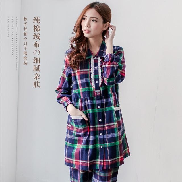 MamaLove 100% Cotton Materinty pajamas nursing pajamas Long Sleeve plaid pajamas set Maternity sleepwear for Pregnant Women