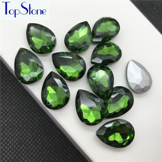 Grass Green TEARDROP Glass Crystal POINTED BACK Rhinestones 5x8 90a464287235