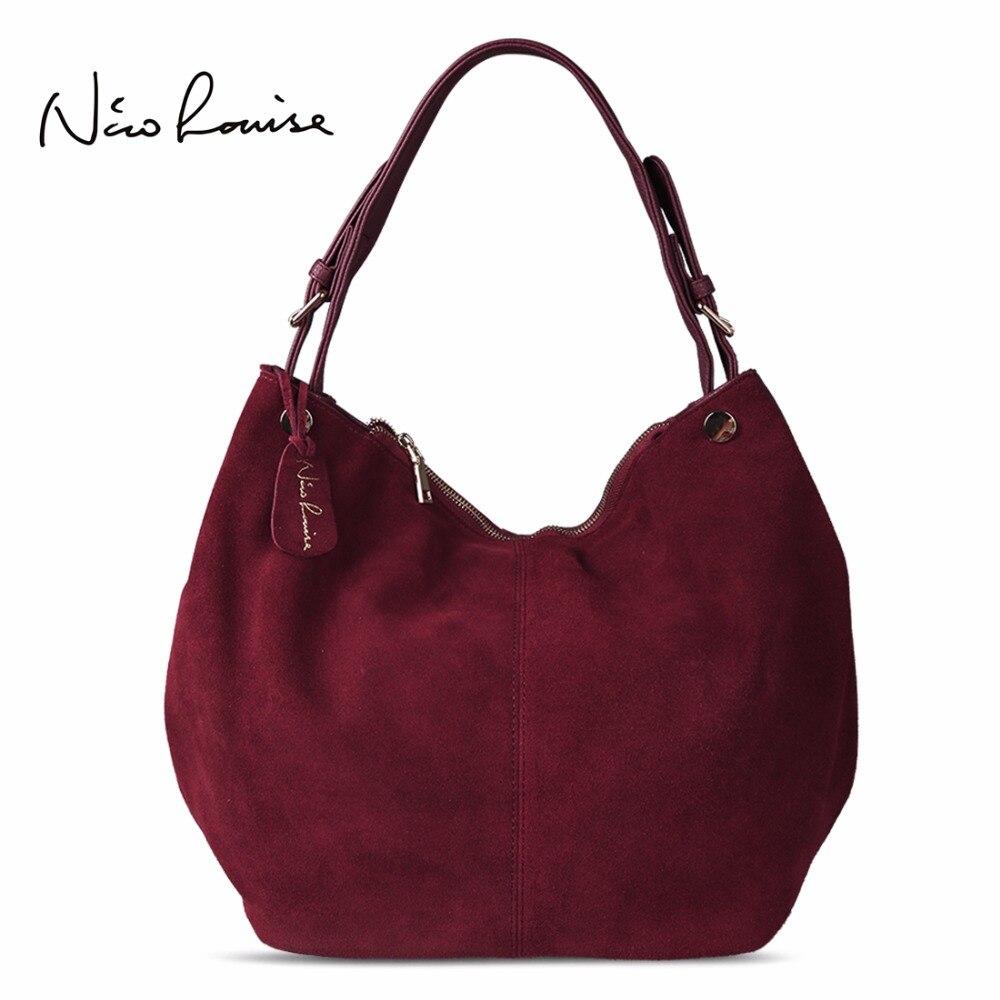 Nico Louise Frauen Echt Split Wildleder Leder Hobo Tasche Neue Design Weibliche Freizeit Große Schulter Taschen Einkaufen Casual Handtasche Sac