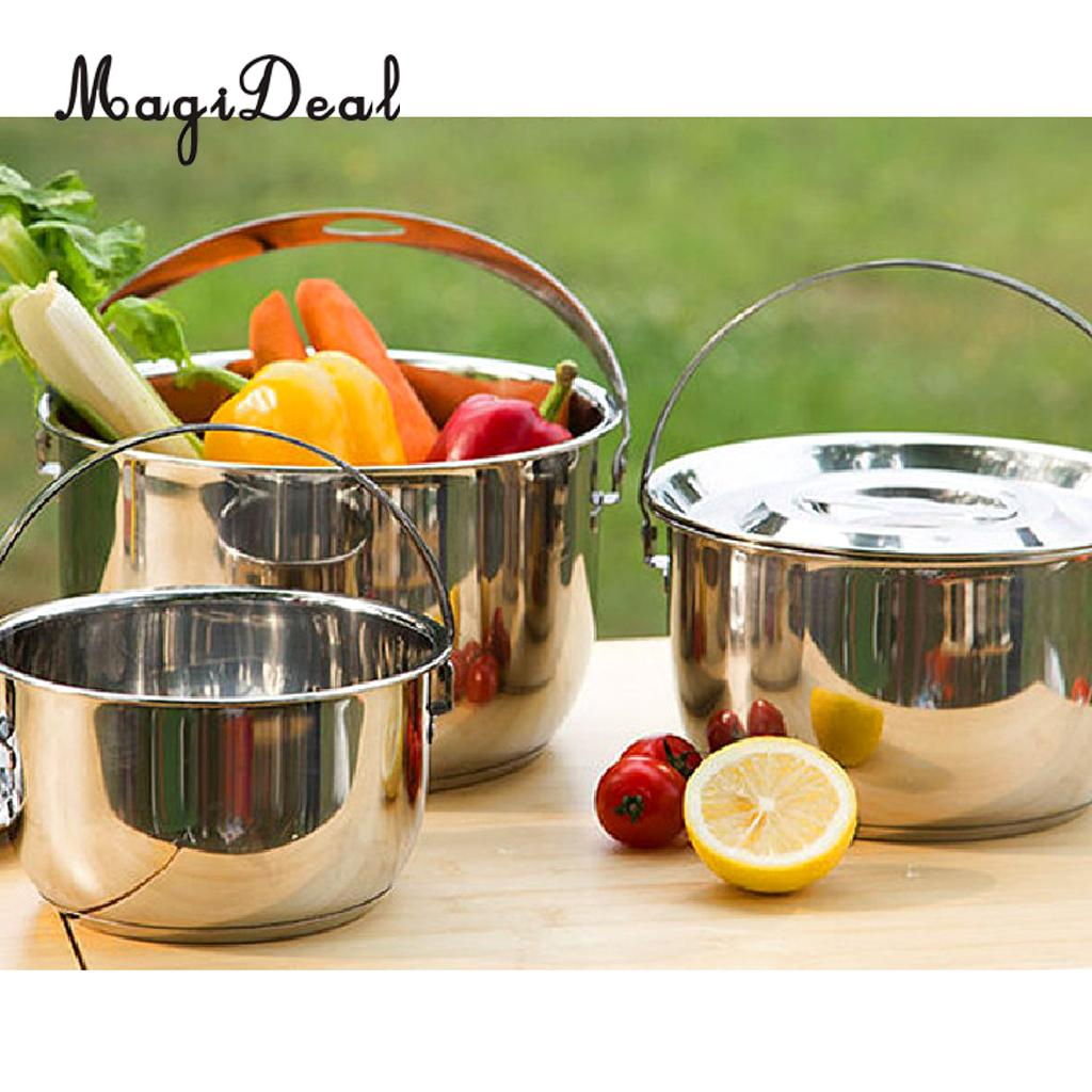 Stainless Steel Pan Outdoor Bowl Camping Cooking Cookware Hanging Pot Set