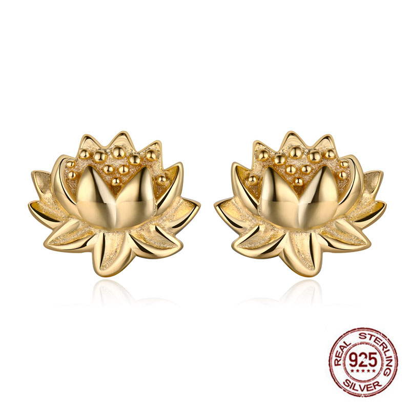 Hongye Indian Religious Jewelry 925 Sterling Silver Gold Lotus