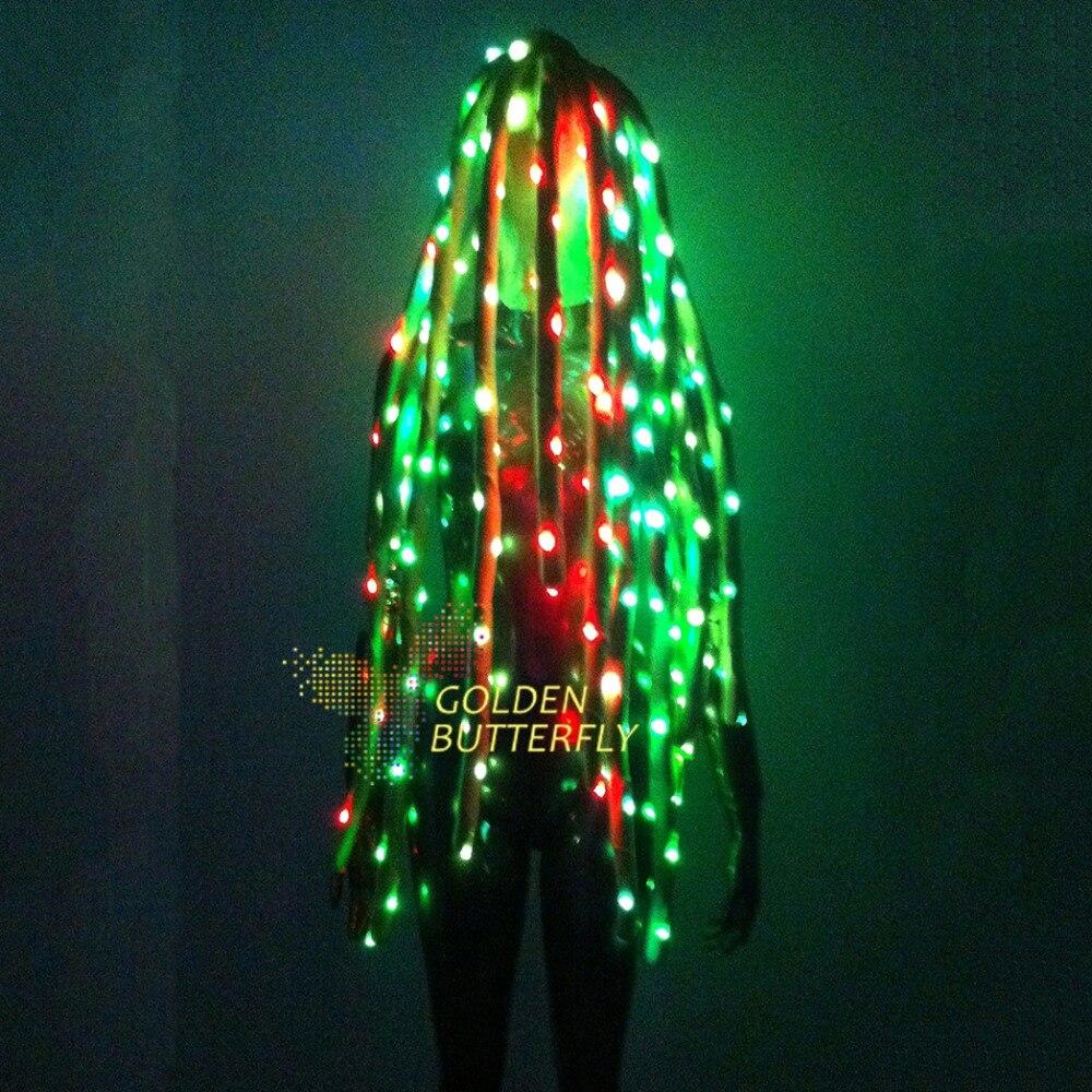 LED волос Мода 2017 г. коса полный цвет рок световой головной убор RGB Светящиеся партии DJ робот волосы реквизит аксессуары