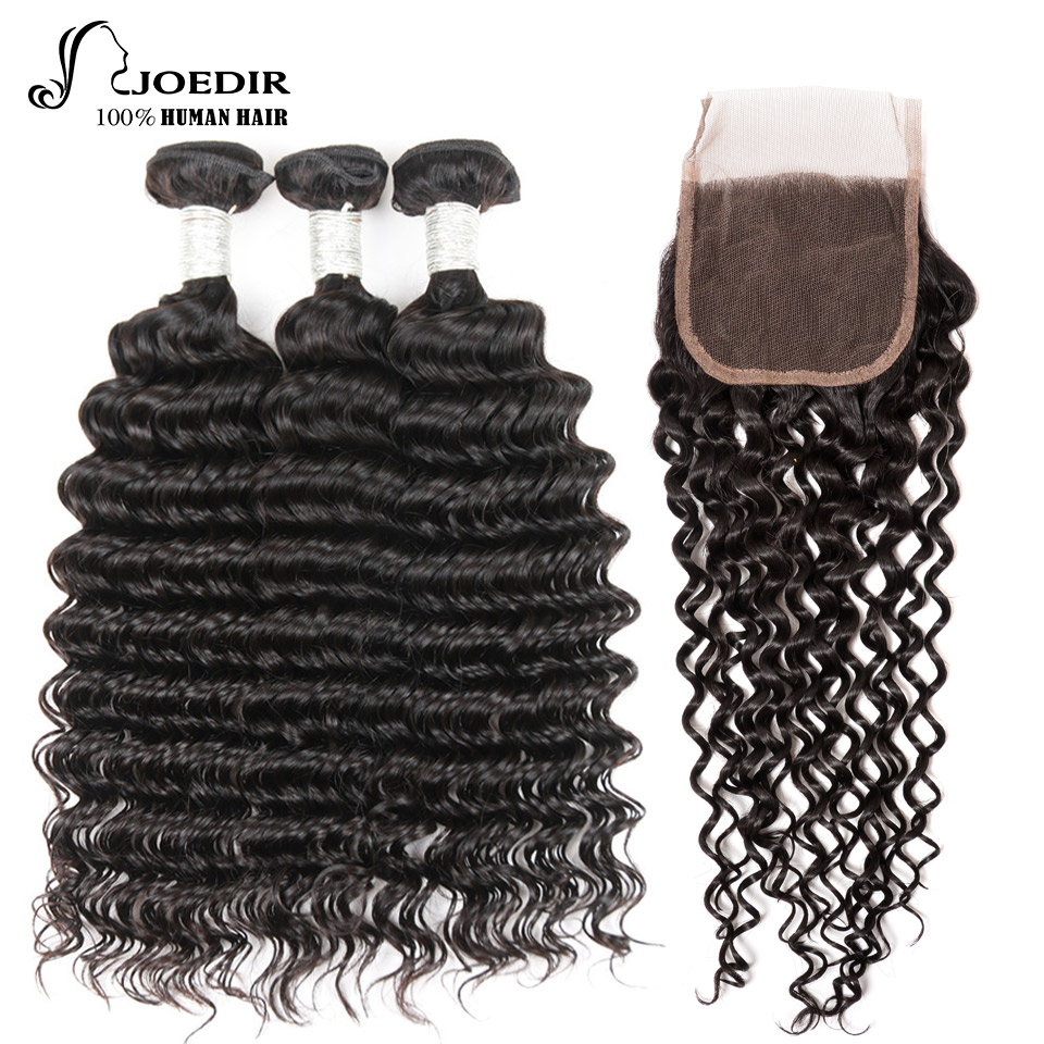 Joedir Human Hair Bundles With Closure Malaysian Deep Wave 3 Bundles With Closure Non Remy Hair Free Part Free Shipping