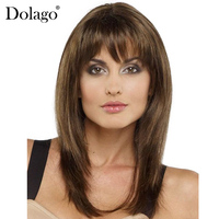 Straight Silk Base Lace Front Human Hair Wigs With Bang Kosher Jewish Wigs European Virgin Hair Silk Top Wig Dolago Hair