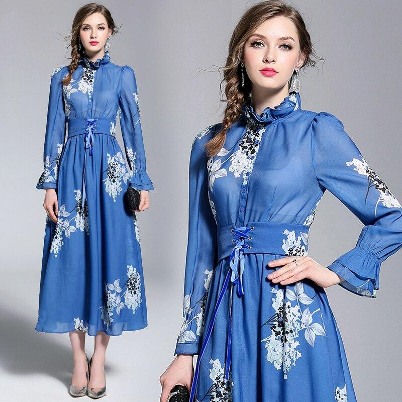 New Temperament Ladies Dress Maxi Puff Sleeve Lace Collar Printing A line Dresses Bandage Slim Waist Women Blue Long Dress