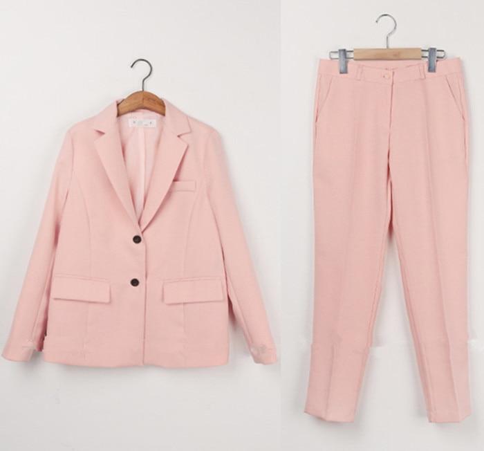 Automne Tempérament Veste Femelle Costume Pantalon Femme Casual Printemps Deux Costumes Rose Professionnelle Neuf pièce Long HwAqdCX