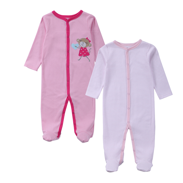 320fdc093 2018 Spring Summer Cute Baby Footie Long Sleeve Baby Girls Jumpsuit ...