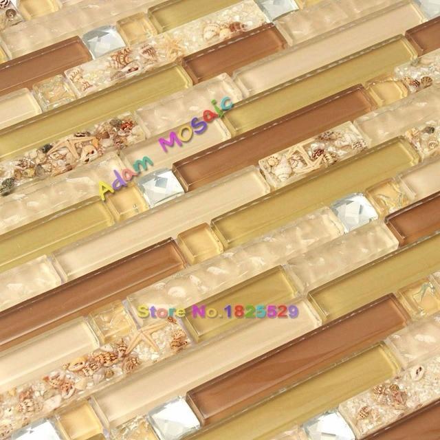 Strand Stil Fliesen Für Bad Wand Braun Kristallglasmosaik Muschel Fliesen  Backsplash Gelb Küche U Bahn
