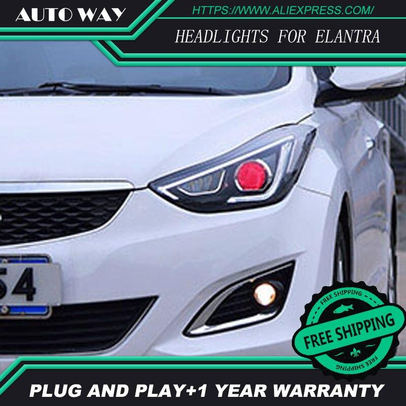 Car Styling Fari Testa Della Lampada per Hyundai Elantra Elantra 2012-2016 HA CONDOTTO il Faro DRL Lens Doppio Trave Bi-Xenon HID
