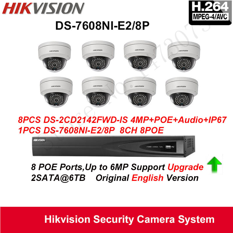 Hikvision Security Camera System 4MP IP Camera 8pcs DS-2CD2142FWD-IS Audio POE IP67 with 8ch POE NVR DS-7608NI-E2/8P Upgradeable change up intermediate teachers pack 1 audio cd 1 cd rom test maker