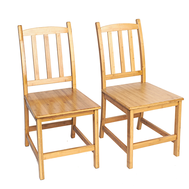 2pcs Sturdy Bamboo Dining Chairs Wood Color