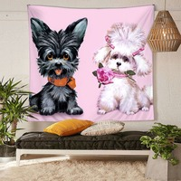 HommomH Tapestry Art Decor Wall Hanging in Dorm Living Room Bedroom Funny Dog Couple Rose Pink