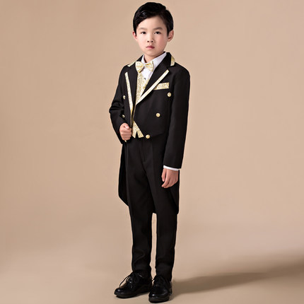5pcs High quality 2016 baby boys kids blazers boy suit for weddings prom formal Sequin dress wedding Performance clothing suits