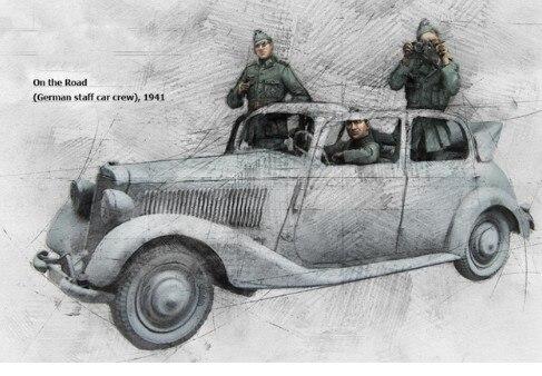 Equipo de equipo alemán para el coche de 3 personas a escala 1/35, miniaturas de la Segunda Guerra Mundial, Kit de modelismo de resina sin pintar, figura de envío gratis