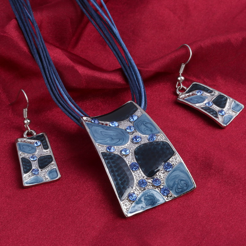 MINHIN Blue Geometry Shape Pendant Necklace Earring Sets Multi Ropes Choker Necklace Classic Wedding Costume Jewelry Set