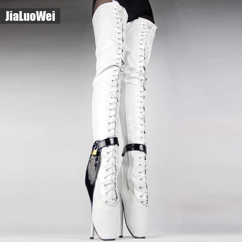 Jialuowei 18 cm/7 polegada de Salto Alto Over-the-Knee saltos de balé preto coxa botas altas Do Sexo fetiche botas de salto Fino virilha Com Fechadura