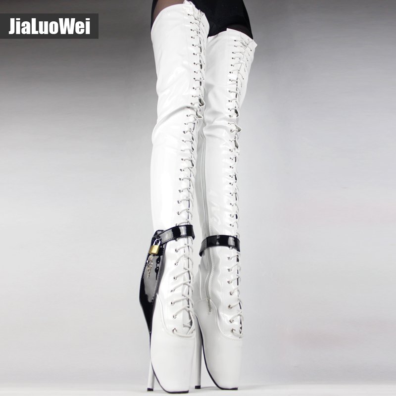Jialuowei 18cm/7 inch High Heel Over-the-Knee ballet heels black thigh high boots Sex fetish Thin heel crotch Lockable boots jialuowei new extreme 18cm 7 high heels fetish sexy ballet boots sex matt zip wedges leather over the knee thigh high boots