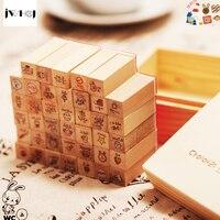 40 PCS Set Mini Cute Rabbit Wooden Rubber Stamp Gift Box Sets Crafts Diy Handmade