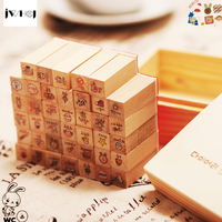 40 PCS Set Mini Cute Rabbit Wooden Rubber Stamp Gift Box Sets Crafts Diy Handmade