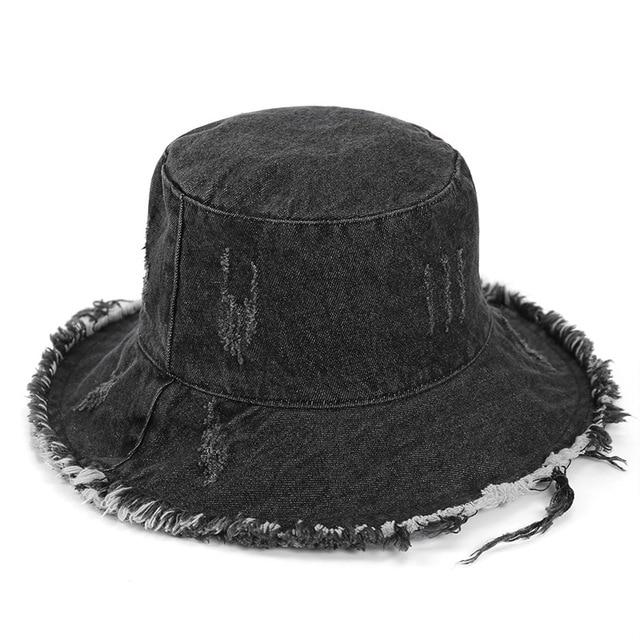 Denim Tassel Hats Women Men...
