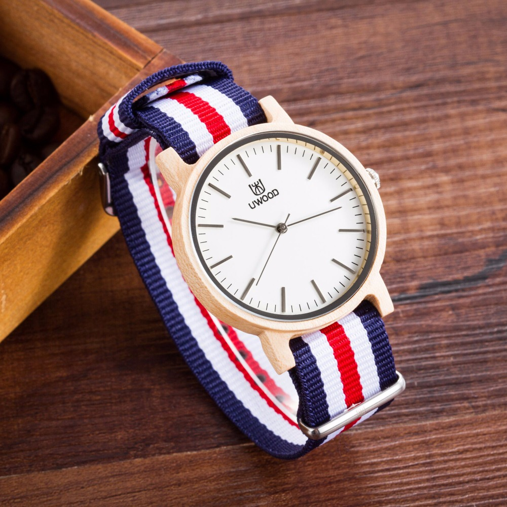 New!! Wood Watches Fashion Wooden Wristwatch With Nylon  Band Lovers Luxury Wood Watches For Men And Women Simple Casual Watch