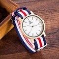 Novo!! Amantes de Relógios De Moda De Madeira relógio de Pulso Com Banda De Nylon de madeira de Madeira de Luxo Relógios Para Homens e Mulheres Casual Simples Relógio