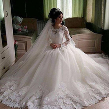 Ball Gown Wedding Dresses 2019 Crew Neckline Lace Appliques Long Transparent Sleeve Puffy Floor Length Bridal Dresses Gowns цена и фото