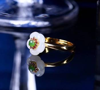 boutique jewelry Natural xinjiang hetian  925 silver jewelry wholesale ring