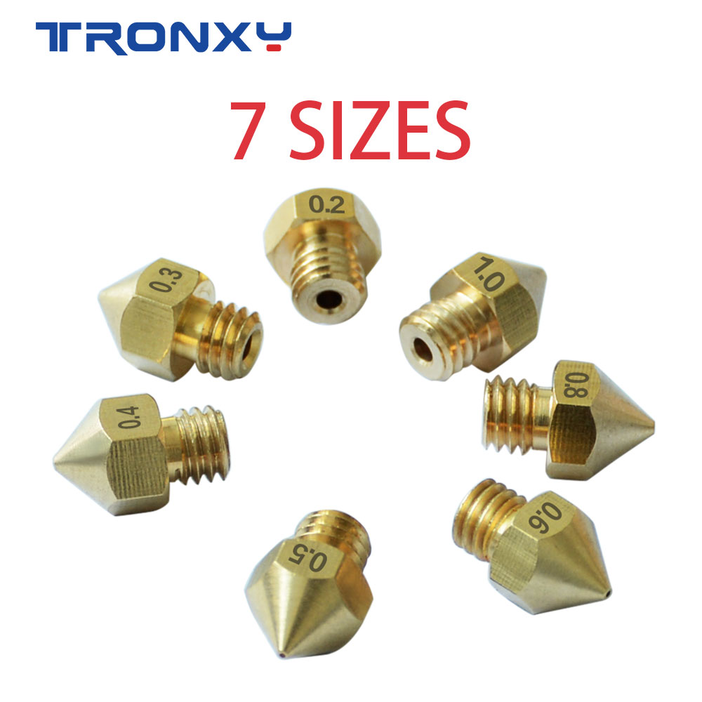 7 Pcs MK8 M6 Nozzle 0.2/0.3/0.4/0.5/0.6/0.8/1.0mm J-head Extrusion Nozzle For 1.75mm Filament 3D Printer Brass Copper Nozzle