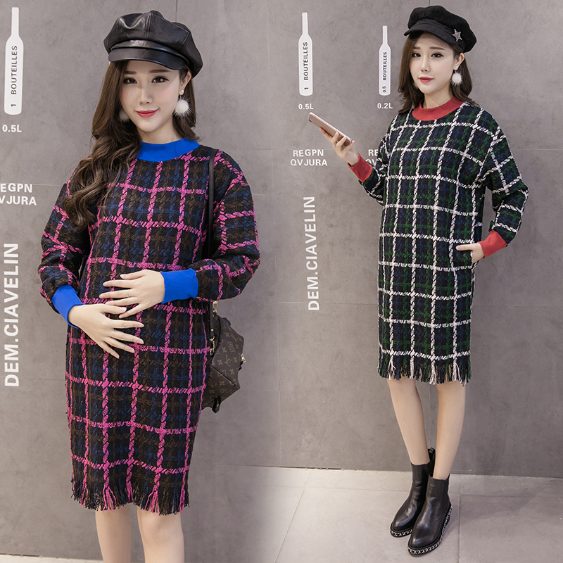 Autumn and winter loaded new pregnant women playing skirt in a long section of lattice wool pregnant women dress