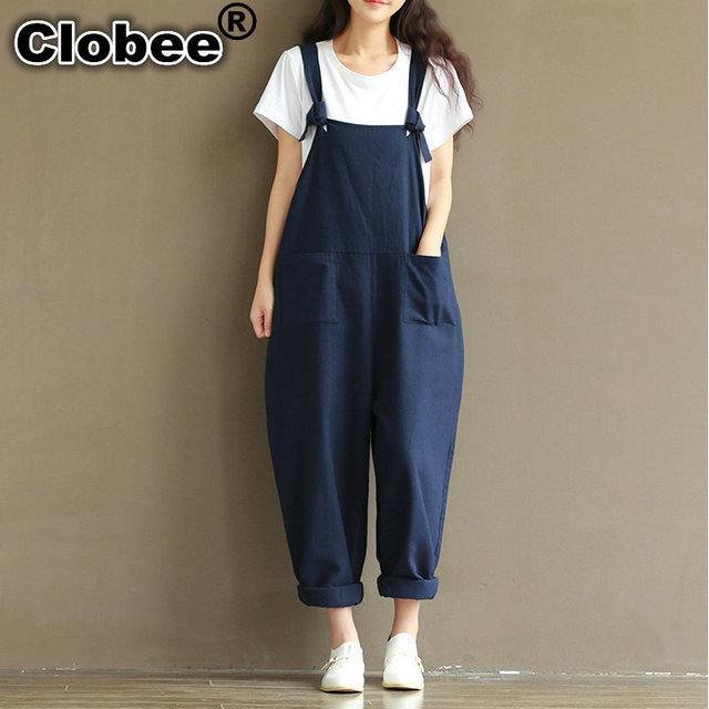 Plus Size Summer Jumpsuit Autumn Women Cotton Linen Overalls Blue