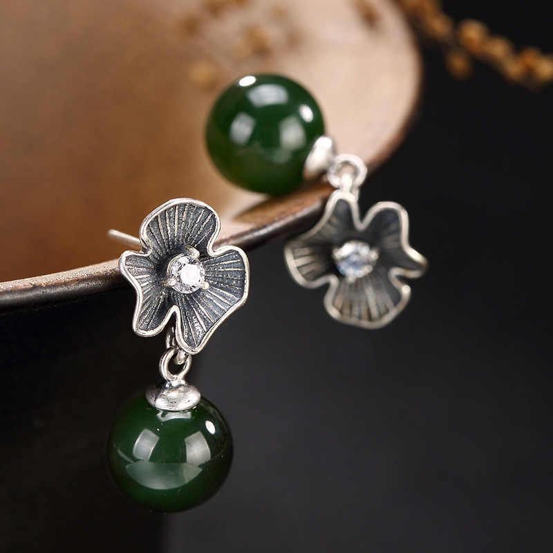 LuYin S925 pure silver hetian jade inlay restoring ancient ways round pearl earrings eardrop wholesale high-grade joker