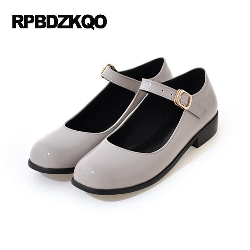 Size 43 Women 2017 Large Custom Red Wine Mary Jane 10 Ladies Round Toe Patent Leather Beautiful Flats Shoes Japanese School