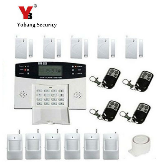 YobangSecurity Wireless Home GSM SMS Security Burglar Alarm Kit System LCD Auto Dialing Call PIR Motion Door Window Sensor 433mhz dual network gsm pstn sms house burglar security alarm system fire smoke detector door window sensor kit remote control