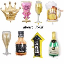 1Pc Champagne Glass Arrow Aluminum Balloons Birthday Party Supplies Decorations Adult Baloon Rose Gold Aniversario Anniversaire