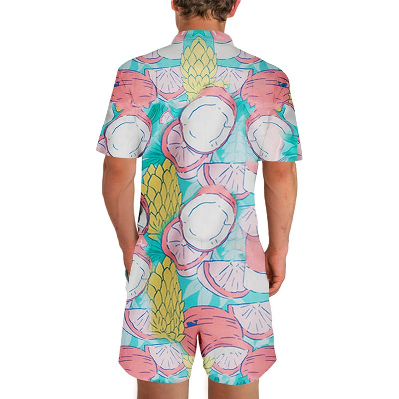 5545e08c76b US Flag Rompers Floral 3D Print Men Funny Jumpsuit Playsuit Male Harem  Cargo Overalls Summer One Piece Beach Slim Fit Men s Sets