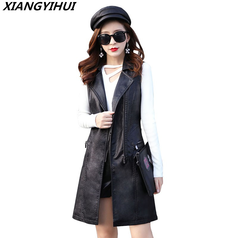 Plus Size 3XL 2018 High Quality PU Leather Women s Vest Long Top Leather Trench Coat