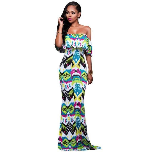 31a7773b2c Ladies Elegant Long Dress Mint Green Summer Fuchsia Women Off The Shoulder  Bohemian Maxi Dress Vestido