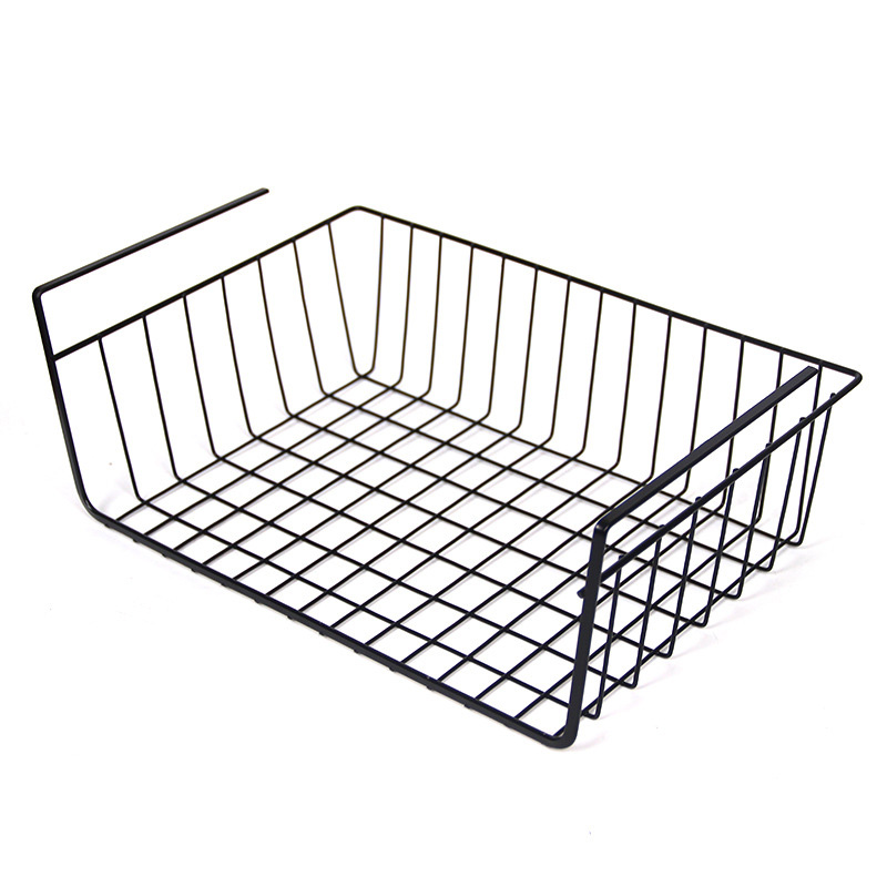 Black/White Under iron Shelf Basket Rack Storage Organizer Holder for Kitchen Pantry Office Books Magazine Newpaper
