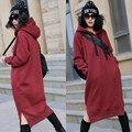 Vestido de maternidad del otoño y el abrigo de invierno grandes patios, además de terciopelo engrosamiento de las mujeres embarazadas suéter largo párrafo de invierno con capucha pr