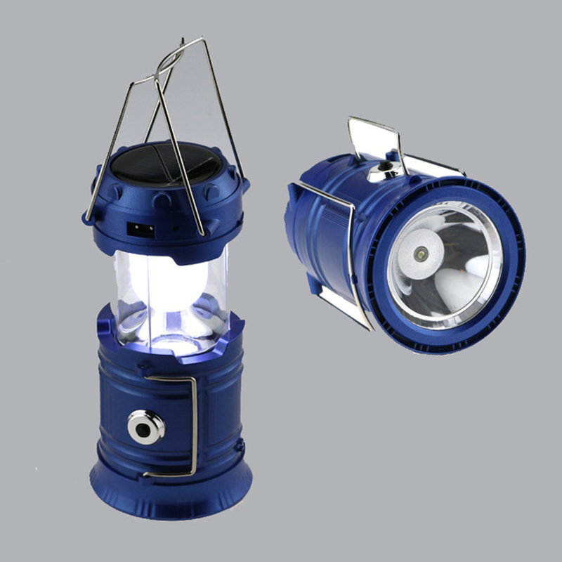 Retractable Outdoor Tent USB Solar Camping Lamp Portable LED Lantern Light For Hiking Emergency Flood Light