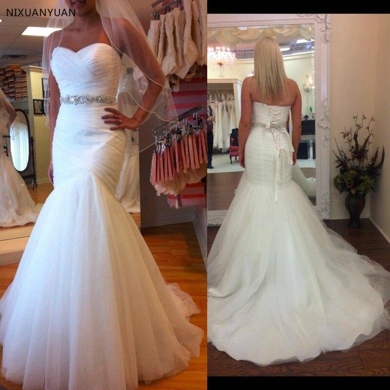 Robes De mariée sirène grande taille 2019 ceintures chérie perles De luxe Vestido De Novia robes De mariée robe De mariée