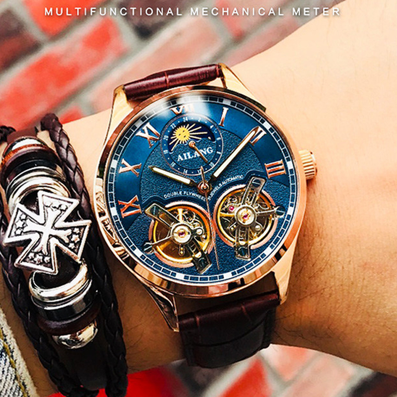 AILANG 2019 latest design watch men s double flywheel automatic mechanical watch fashion casual business men