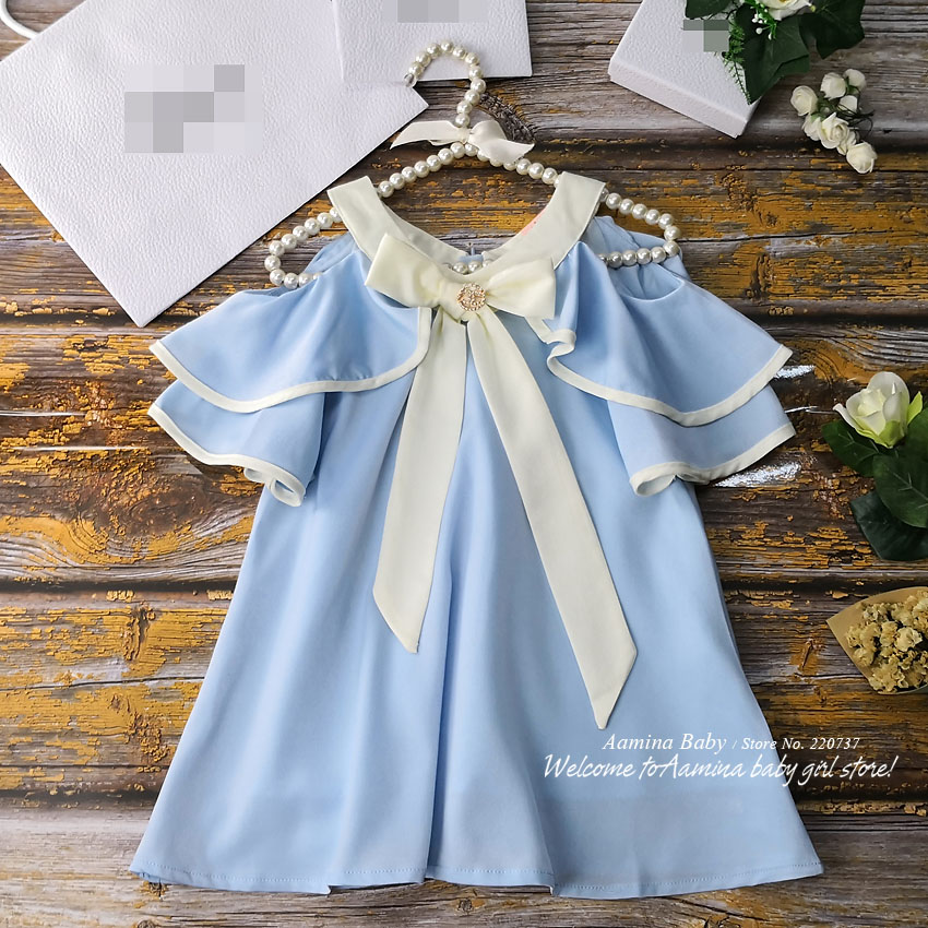 9512304 With Brooch Ruffles Shoulder Off Princess Baby Girl Dress Summer Party Kid Dress For Girl