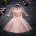 Hot Sale Pink A-Line Cocktail Dresses 2016 Scoop Neck Half Sleeve Appliques Lace Vestido De Festa Curto